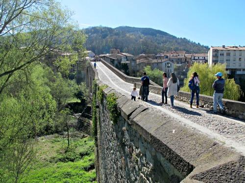 El pont vell, que creua el riu Ter i uneix les dues bandes de Sant Joan de les Abadesses. /© Gg